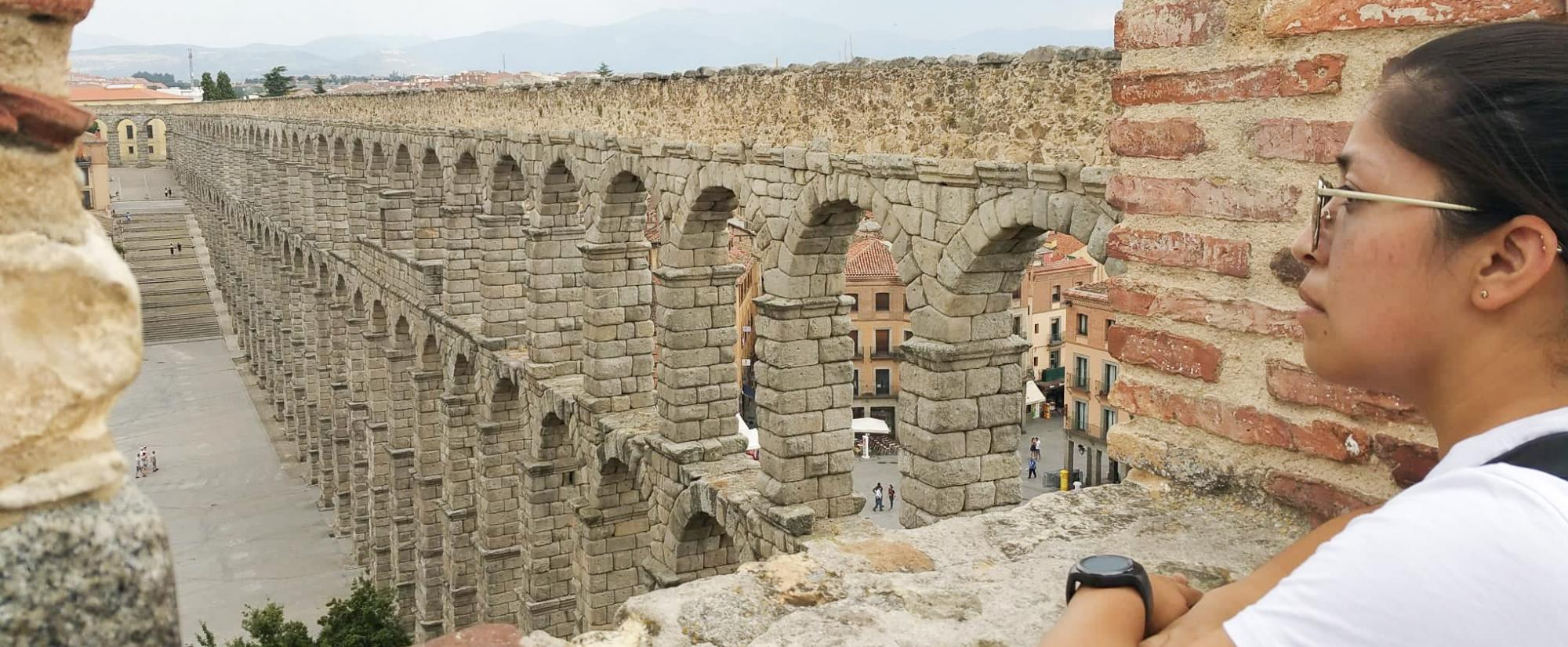 History student at Spanish Aqueducts