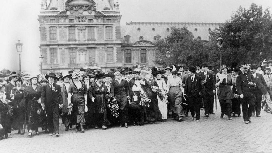Historic photo of womens suffrage demonstration in Paris, 1914